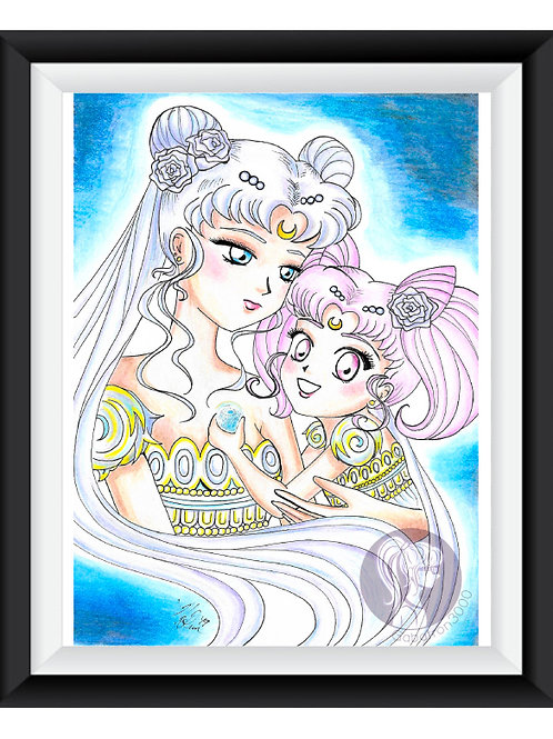 Neo-Queen Serenity & Small Lady Art Print