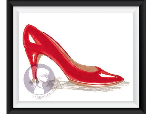 Red High Heel Doodle Art Print