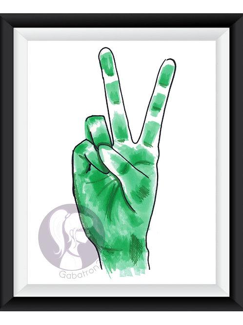 Green Peace Doodle Art Print