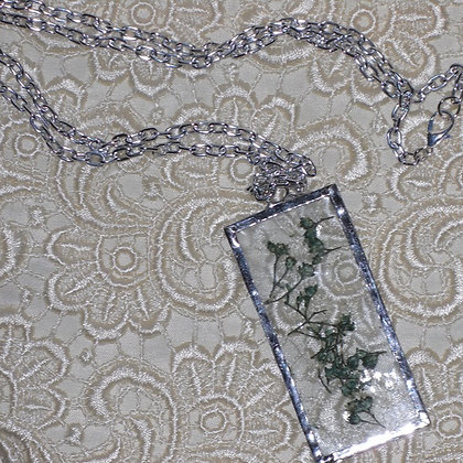 Green Pressed Flower Necklace