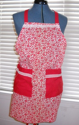 Red and White Floral Apron