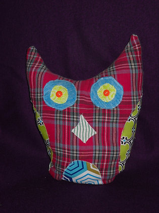 Red Flannel Owl Pillow