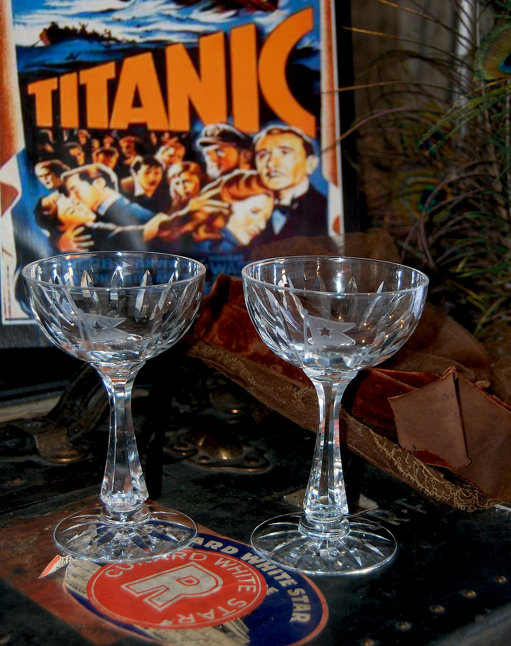 Exquisite replica Titanic goblets cut by Hawkes Crystal Master Cutter Aidan J. Scully.