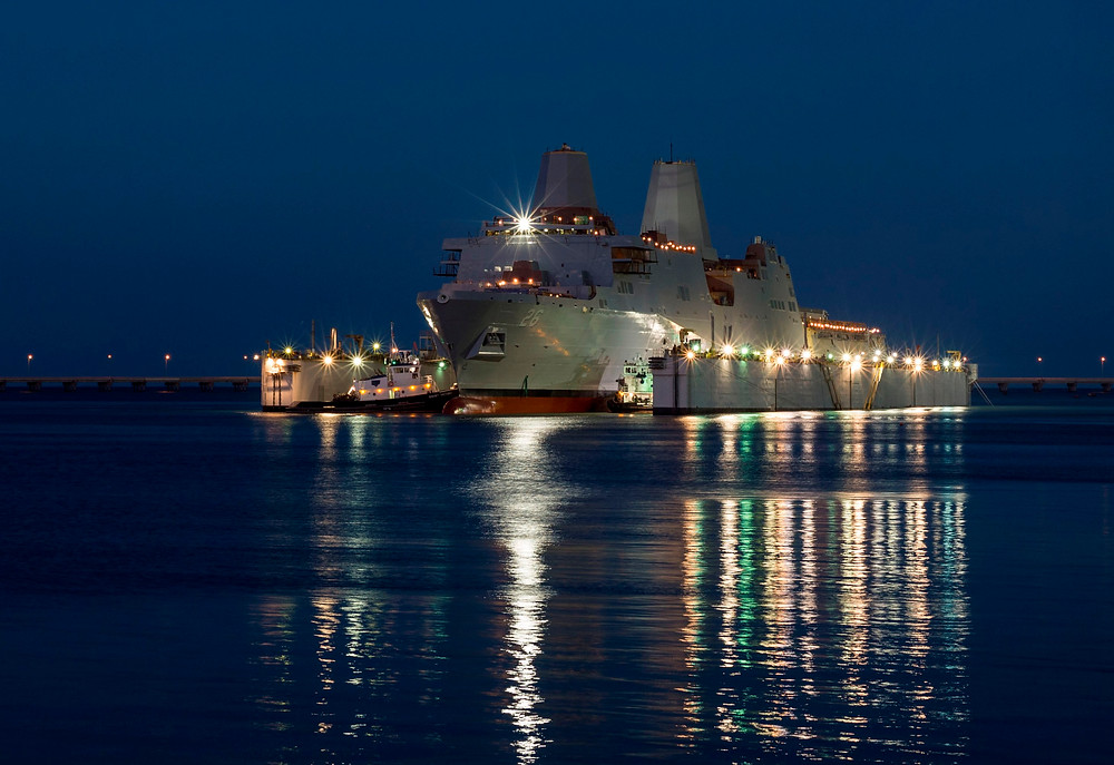 The amphibious transport dock ship Pre-Commissioning Unit (PCU) John P. Murtha (LPD 26) is launched from the Huntington Ingalls Industries shipyard in Pascagoula. Photo by U.S. Navy