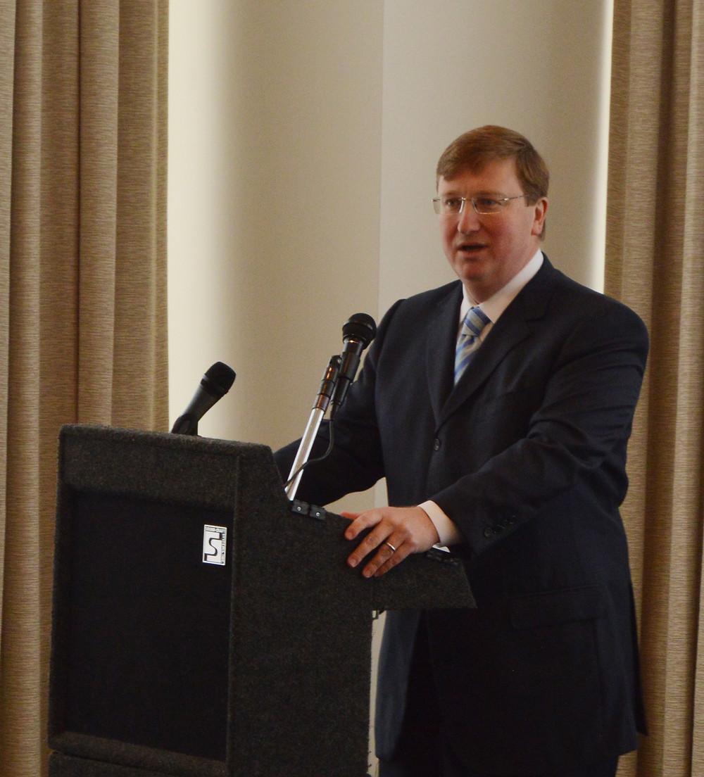 AGENDA: Lt. Gov. Tate Reeves addresses the Stennis Institute's Capitol Press Club Forum Monday. Photo by Steve Wilson