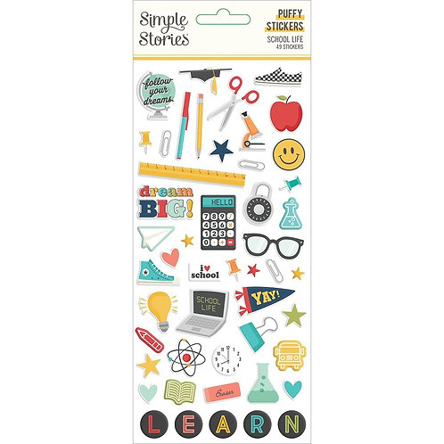 Simple Stories School Life Puffy Stickers