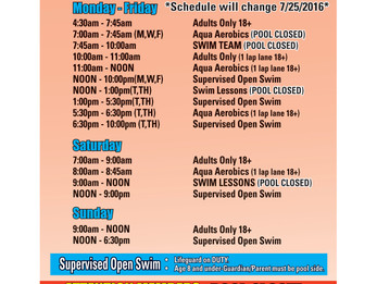 Updated Pool Schedule