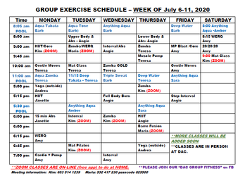 Group Exercise-Week of July 6th
