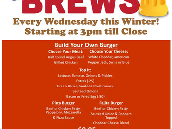 Burgers & Brews All Winter at the DCC!