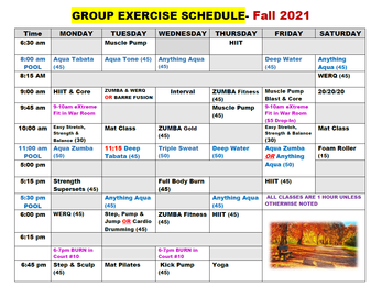 Fall Group Fitness Schedule