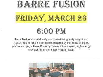 Barre Fusion Group Fitness Class, March 26th