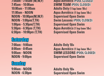 Current Pool Schedule