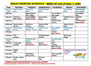 Group Fitness Week of July 27th