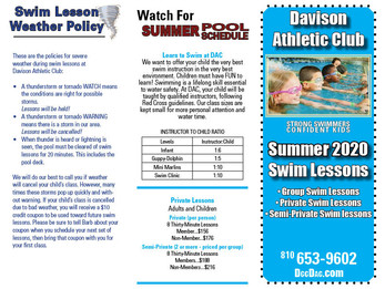 Swim Lessons Summer 2020