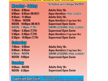 Updated Pool and Fitness Schedule
