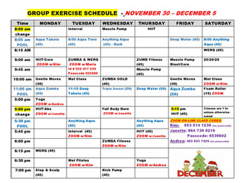 Fitness Schedule Week of Nov 30th