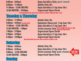 New Pool Schedule as of 7/27/19