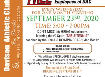 September Table Tennis Clinic