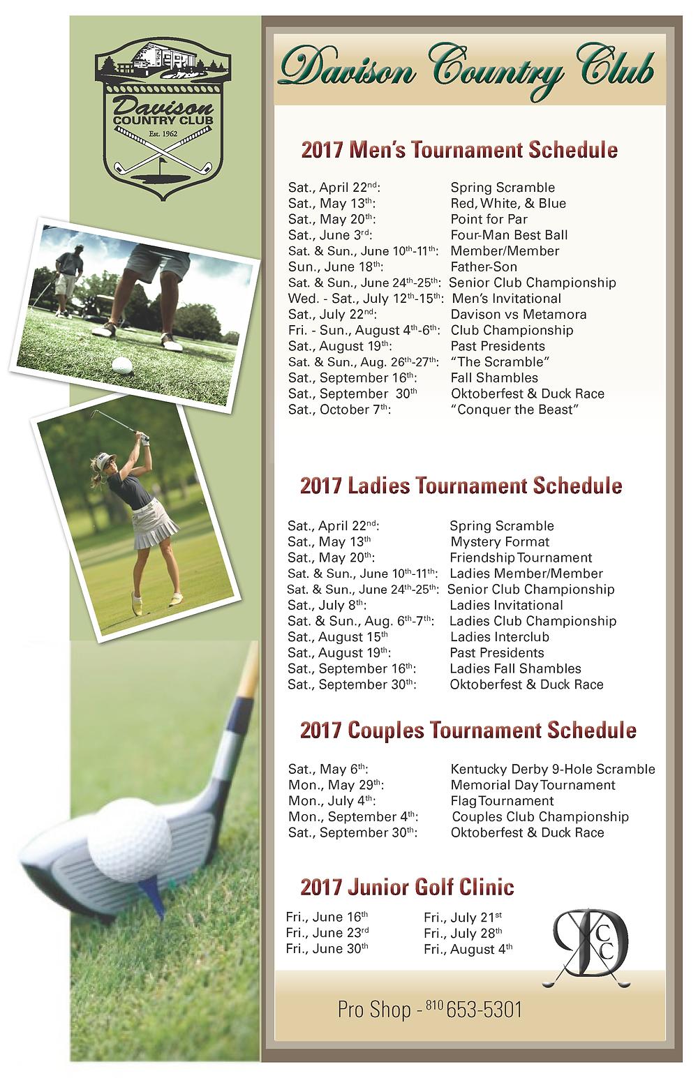 DCC 2017 Golf Tournament Schedule