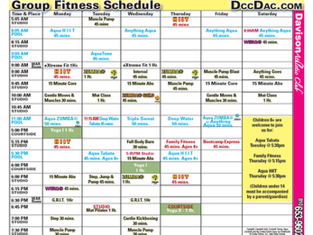 Group Fitness Schedule Effective 7/27/19