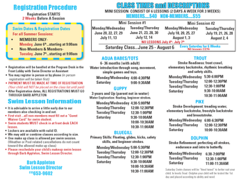 Sign up now for the new session of summer swim lessons!