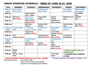 Group Exercise June 22-27th