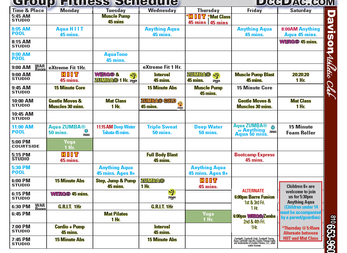 DAC's New Group Fitness Schedule