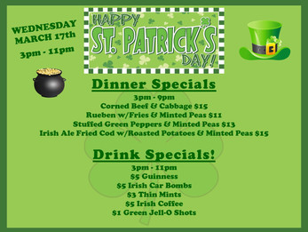 Specials for St. Patty's Day at DCC