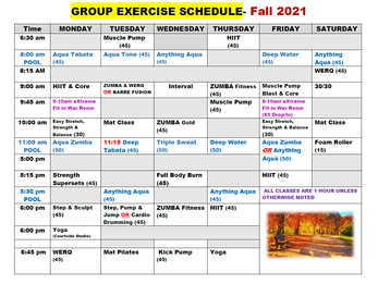 DAC Group Fitness Schedule