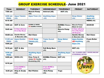 June Group Fitness Schedule