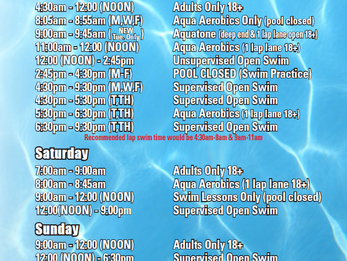 DAC Pool Schedule Change