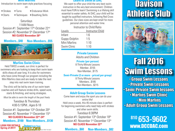 DAC Fall 2016 Swim Lesson Schedule