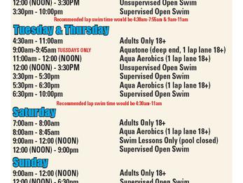 Current Pool Schedule: