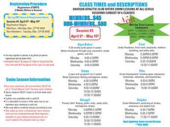 NEW! Added Swim Classes starting April 5th! Registration begins March 22nd.