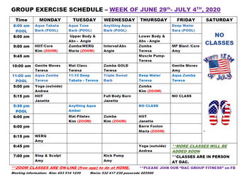 DAC Group Exercise Schedule week of June 29th