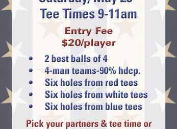 Red, White, & Blue Golf Tourney Rescheduled for May 28th