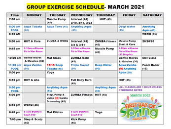 March Group Fitness Schedule