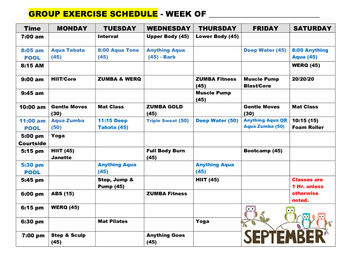 Group Exercise Schedule Sept. 20th-30th