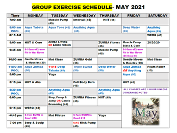 May Group Fitness Schedule