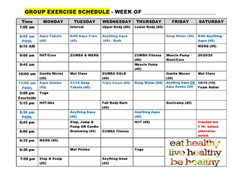October Group Fitness