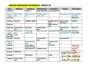 November Group Fitness