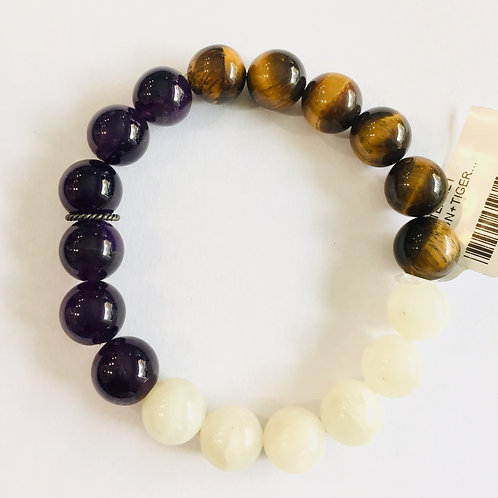 Moon Stone+Tiger Eye+Amethyst Bracelet