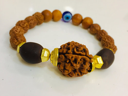 Kamal Gatta with Evil Eye With Natural  Rudraksha Bracelet