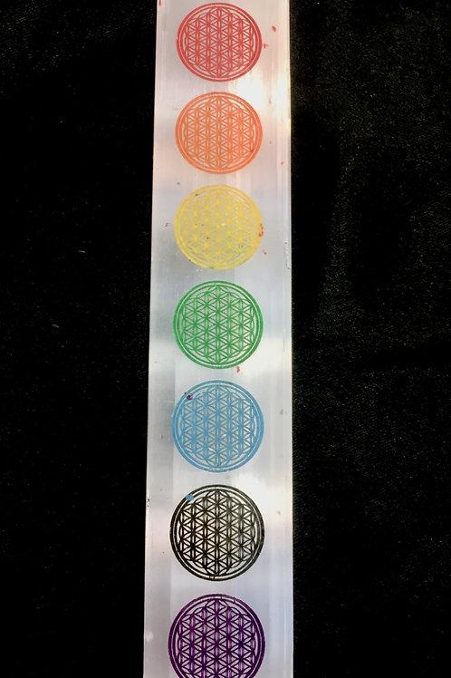 Selenite Stick 7 Chakra Engreved