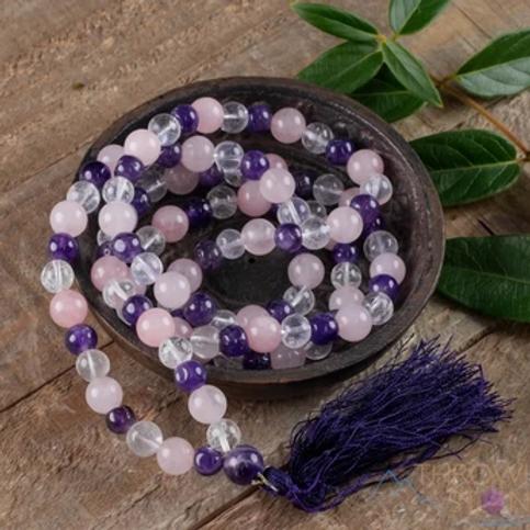 Amethyst + Clear Quartz +Rose Quartz Beads Mala