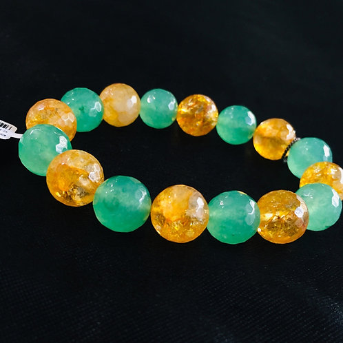 Natural Unlied Citrine+Green Aventurine Bracelet