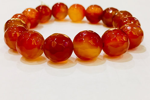 Carnelian Bracelet Diamond Cut