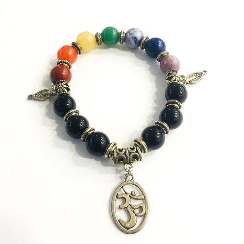 7 Chakra With Black Onyx  Bracelet