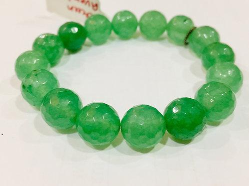 Green Aventurine Diamond Cut Bracelet