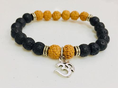 Lava Stone With Natural  Rudraksha Bracelet